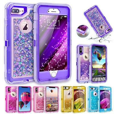 For iPhone 6S Plus Transparent Quicksand Glitter Liquid Defender Case w/ Screen