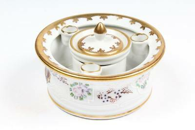 Antique French Hand Painted Porcelain Inkwell