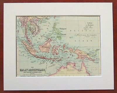 Malaysia, Indonesia, South East Asia - Antique c.1900 Mounted Colour Map