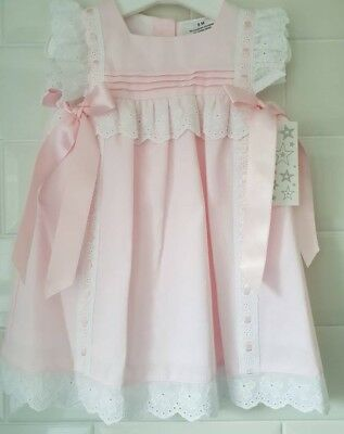 d9823ff5f57b Beautiful Spanish Style Baby Girl Pink Lace and Bow Dress - 6