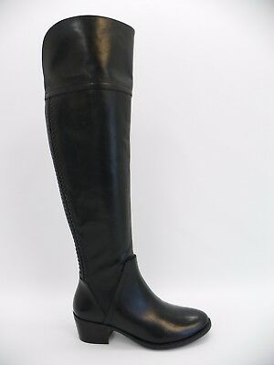 98443d71bc3 Vince Camuto Womens Bendra Block Heel Tall Woven Boots Black Leather 6M  Display