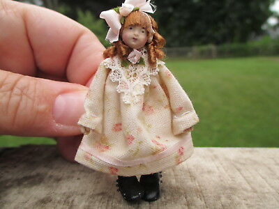 Dollhouse Miniatures ~ Handmade Little Girl Old Fashioned Doll By Maureen Thomas