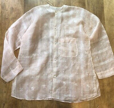 Vtg? Womens Japanese Light Peach Textured Linen/Cotton? Haori Blouse Jacket
