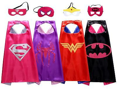 Super Hero Capes And Masks Girls Dress Up Costumes For Kids Party Favor - 4 Pack