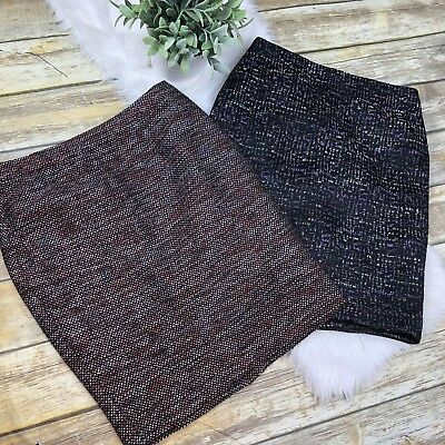 LOT OF 2 Ann Taylor Petites Women's Marled Tweed Pencil Skirts Career Size 2P