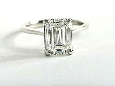 2.00 ct Emerald Cut Diamond Engagement Solitaire GIA CERTIFIED I, VS1 14kWG NEW