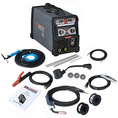 MTS-205A MIG Flux Cored Wire, TIG Torch, Stick Arc Welder 3-IN-1 Combo Welding