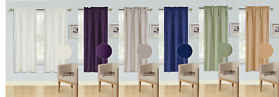 1Pc Rod Pocket Top Panel Solid Blackout Foam Lined Window Dressing Curtain (R64)