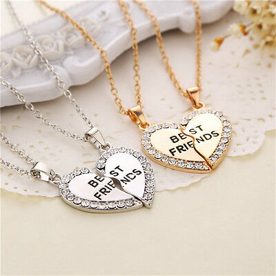 1Pair Gold Silver Heart Crystal Pendant Best Friends Necklace Chain Jewelry Gift
