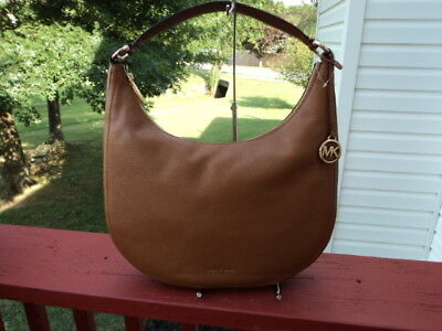8ec9059c881ccc Authentic Michael Kors Lydia Large Hobo Acorn Brown Leather Shoulder Bag NWT