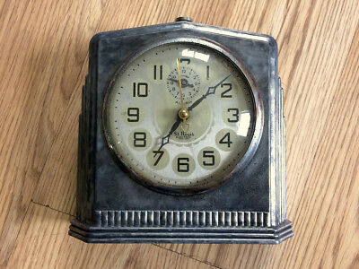 Antique Vintage 1930's Art Deco St. Regis Metal Clock