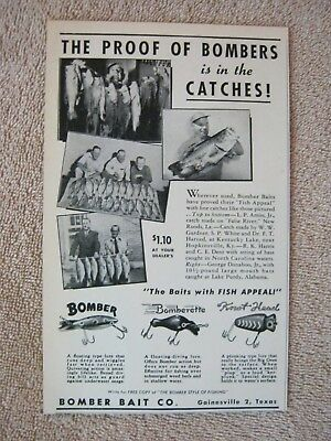 Vintage 1949 Bomber Bomberette Knot Head Fishing Lure Gainesville Texas Print Ad