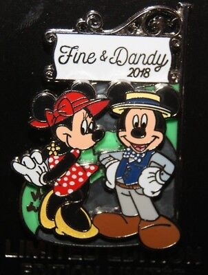 Disney Parks FINE & DANDY 2018 Mickey and Minnie LE 5000 Pin Dapper Day