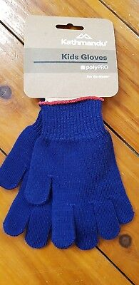 Kathmandu Unisex Kids' Polypro Gloves Small Navy - brand new