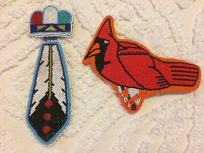Vintage Native American Indian Cardinal & Feather Hair Pieces L@@k