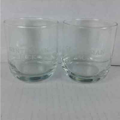 (2) New Jack Daniels Gentleman Jack Whisky Lowball Rocks Etched Glass Cup Barwar