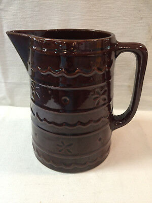 Vintage Marcrest Oven Proof Brown Daisy Dot Large Water Pitcher Stoneware(1950s)