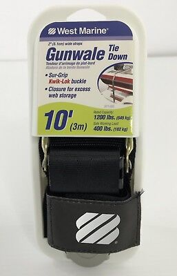 """BOAT TRAILER TIE DOWN GUNWALE 2/"""" X 16FT 74 60030 QUICK RELEASE BUCKLE AND J-HOOK"""