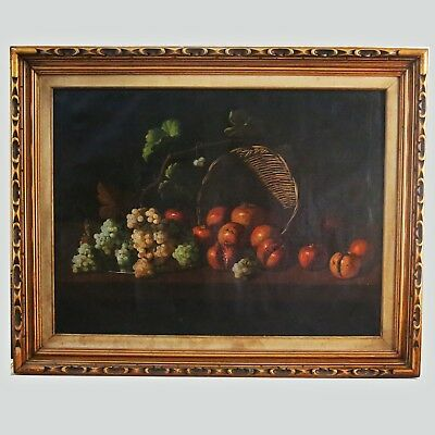 Oil Canvas painting Still Life Fruits Antique 19th Century Continental School