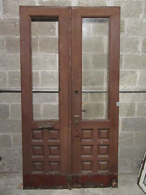 ~ Antique Walnut Double Entrance French Doors  ~ 45 X 85 ~ Architectural Salvage