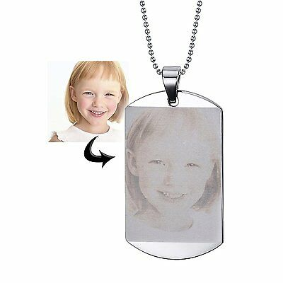 Free Engraving Photo Text Custom Stainless Steel ID Necklace Personalized Gift