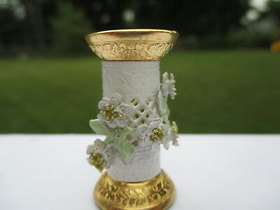 Dollhouse Miniatures ~ Brooke Tucker Floral Umbrella Stand ~ White & Gold Metal