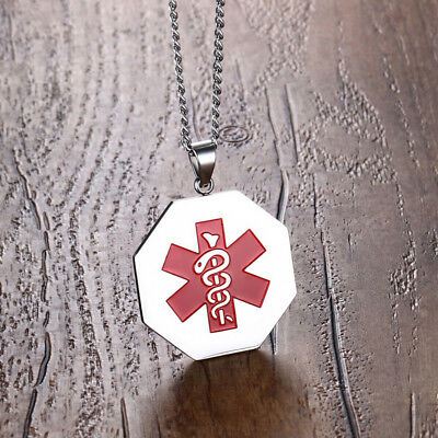 Octagon Women Medical Alert ID Tag Necklace Stainless Steel Pendant Personalized