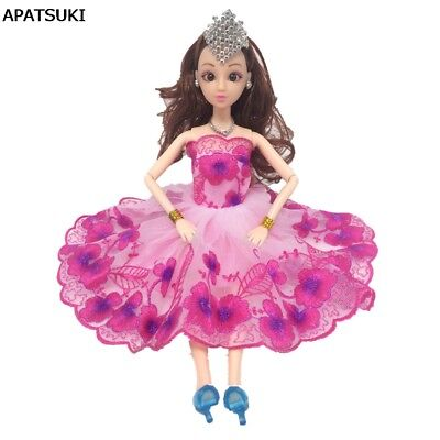 "Pink Flower Dancing Costume Dress Lace Dresses For 11.5"" 1/6 Doll Clothes Toy"