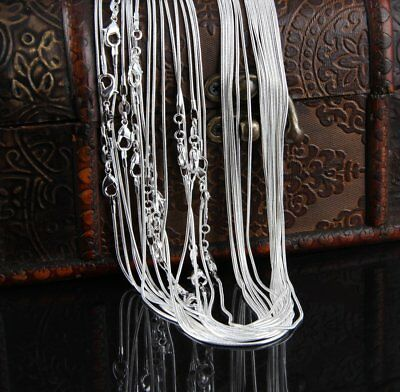 """Fashion 1mm 925 Silver Plated Snake Chain Necklace 16"""" 18"""" 20"""" 22"""" 24"""" Wholesale"""