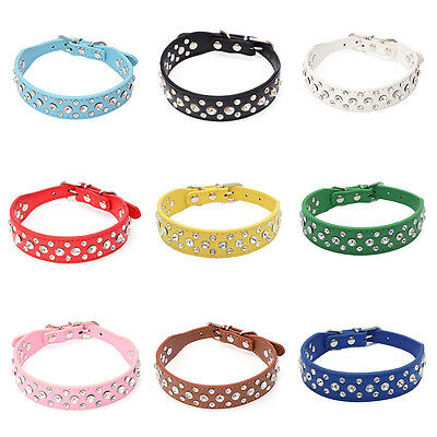 Pet Cat Dog Exquisite Bling Rhinestone Neck Strap PU Leather Crystal Collar
