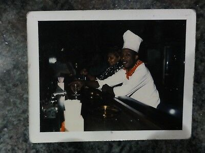Polaroid of African American Chef sitting at Bar with Lady Drinking Vintage
