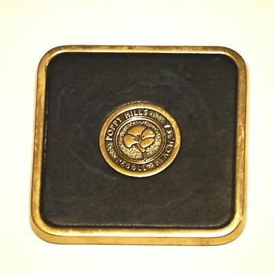 Vintage Midcentury Poppy Hills Golf Course Pebble Beach California Brass Coaster