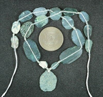 Ancient Roman Glass Beads 1 Medium Strand Aqua And Green 100 -200 Bc 912