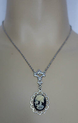 VICTORIAN-STYLE SKELETON Zombie LADY CAMEO Silver NECKLACE PENDANT Goth/Gothic