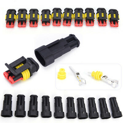 10Kits 2Pin Way Sealed Waterproof Electrical Wire Connector Plug Car Auto Set fS