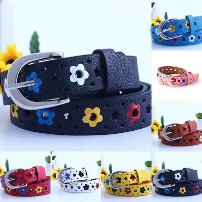 US Candy Color Flower Belt Buckle PU Leather Kids Toddler Waistband Butterfly
