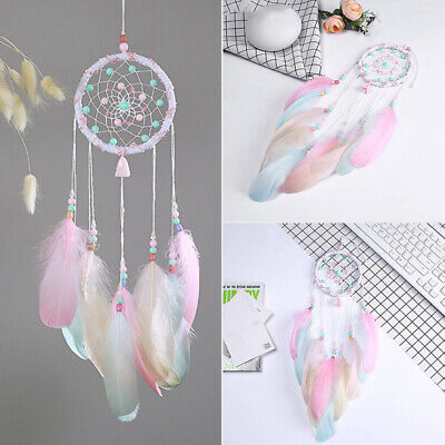 22'' Pink Feather Ring Dream Catcher Dreamcatcher Gift Room Car Decor Ornament