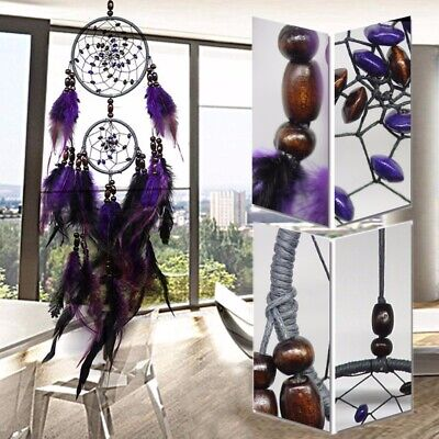 25'' Handmade Purple Dream Catcher Feathers Wall Car Home Hanging Decor Ornament