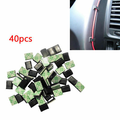 40pcs Car Data Wire Fixed Clips Self-adhesive Tie Cable Mount Wire Clamp HOT