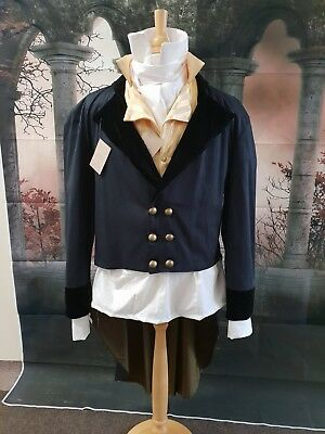 Regency Style 100% Cotton Twill  Frock Coat With Velvet Trim XL
