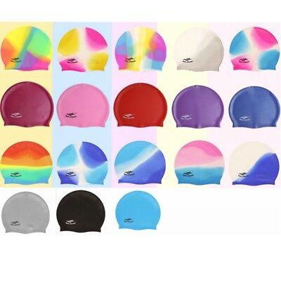 Adult Swimming Caps Durable Elastic Silicone Pool Beach Black Blue Pink 18 Color