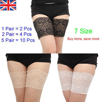 2Pairs Non Slip Lace Elastic Sock Anti-Chafing Thigh Bands Prevent Thigh Chafing