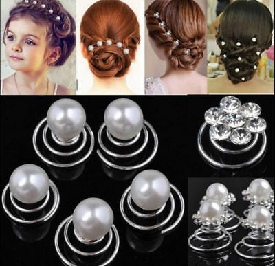 24pcs Bridal Hair Pins Pearls Silver Tone Diamante Crystal Wedding Spiral Twist