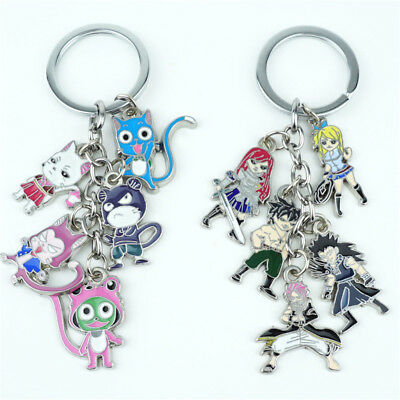 Anime FAIRY TAIL Keychain 5Pcs/Set Pendant Keyring Metal Backpack Accessories