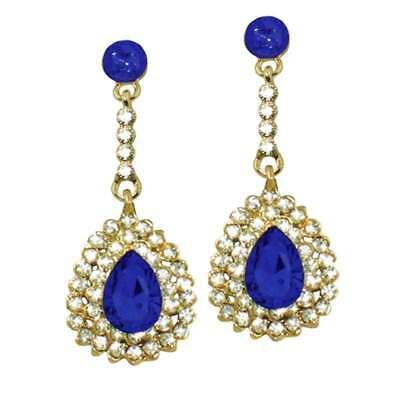 Ritz Sapphire Blue and Clear Crystal Gold Tone Drop Pierced Earrings