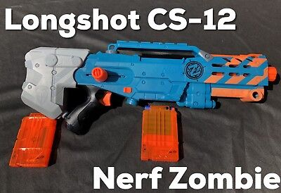 Nerf Zombie Longshot CS-12 With Darts And Two Magazines