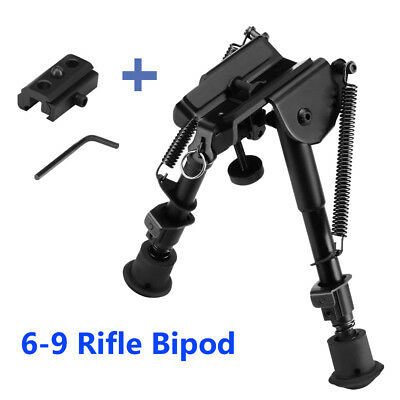 6-9 Inches Tactical Rifle Bipod Spring Return Mount + Adapter for 20mm Rail