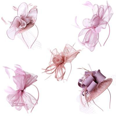 New Elegant Dusty Pink Hair Tie Fascinator Wedding Party Royal Ascot