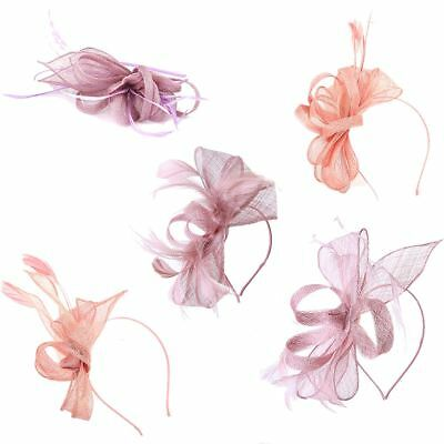 Dusty Pink Wedding Feather Fascinator Headband & Clip Race Royal Ascot