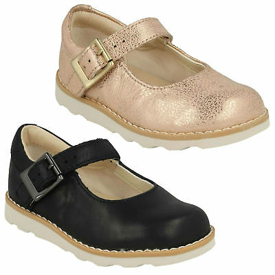 Girls Clarks Crown Honor Buckle Infant Mary Jane Casual Kids Leather Shoes Size